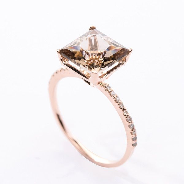 PRE-Princess Cut Smoky Quartz Diamond Pave Ring CHRISTINE K JEWELRY (1,700 ILS) ❤ liked on Polyvore featuring jewelry, rings, smokey quartz ring, smoky quartz jewelry, pave diamond jewelry, smoky quartz rings and princess cut jewelry