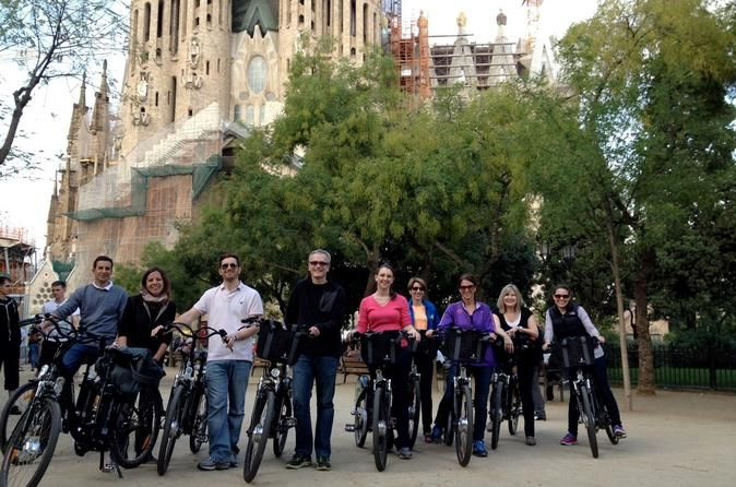 Barcelona Electric Bike Tour Including La Sagrada Familia See Barcelona with maximum fun and minimum effort on a 3-hour electric bike tour, led by a local guide! Safe and easy to ride, the bike has an electric motor that starts as soon as you pedal, meaning you can see the city sights without losing your breath. See Barcelona attractions such as La Monumental bullring and El Born Centre Cultural; discover the tranquility of Parc de la Ciutadella; and enjoy 1.5 hours of free ti...