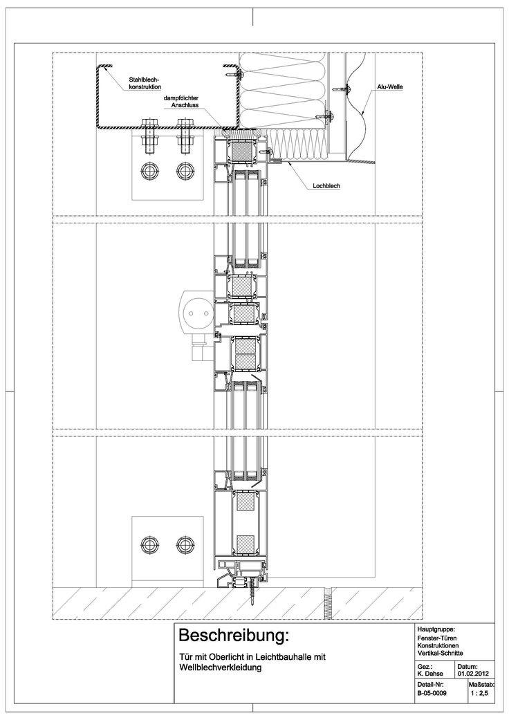 Tür detail grundriss  B-05-0009 Tür mit Oberlicht in Leichtbauhalle mit ...