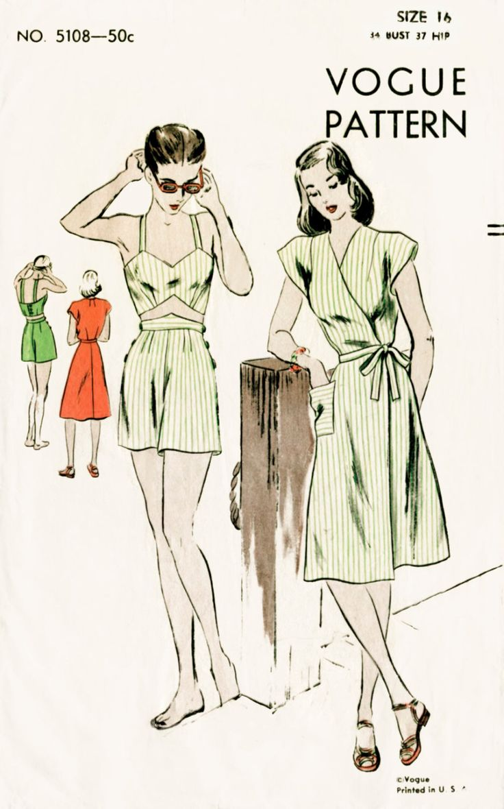 1940s 40s vintage sewing pattern crop top bikini bra, shorts, wrap dress beach swim bathing suit