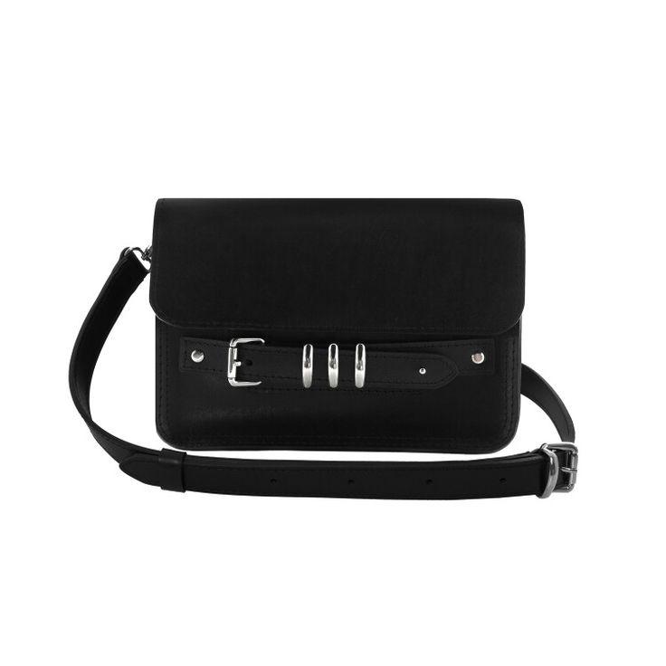 Black calfskin leather shoulder bag