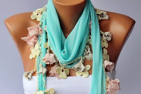 Turkish oya scarf mint turkish yemeni /hand crocheted by SenasShop, $23.90