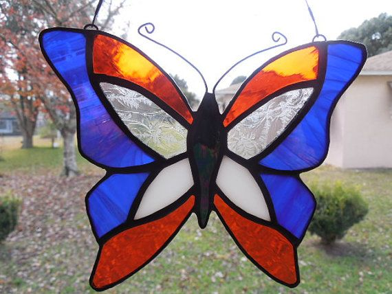 Art Glass Butterfly Stained Glass suncatcher Orange by ObanaGlass, $35.00