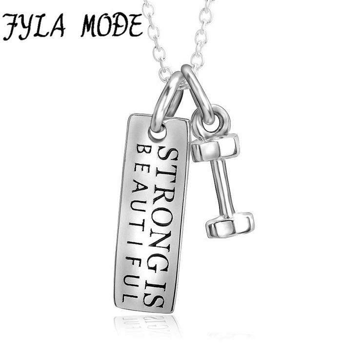 ==> [Free Shipping] Buy Best Fyla Mode 925 Sterling Silver Necklace with Strong Is Beautiful Tag and Dumbbell Pendant Hot Selling Jewelry for Women Men Online with LOWEST Price | 32826310708