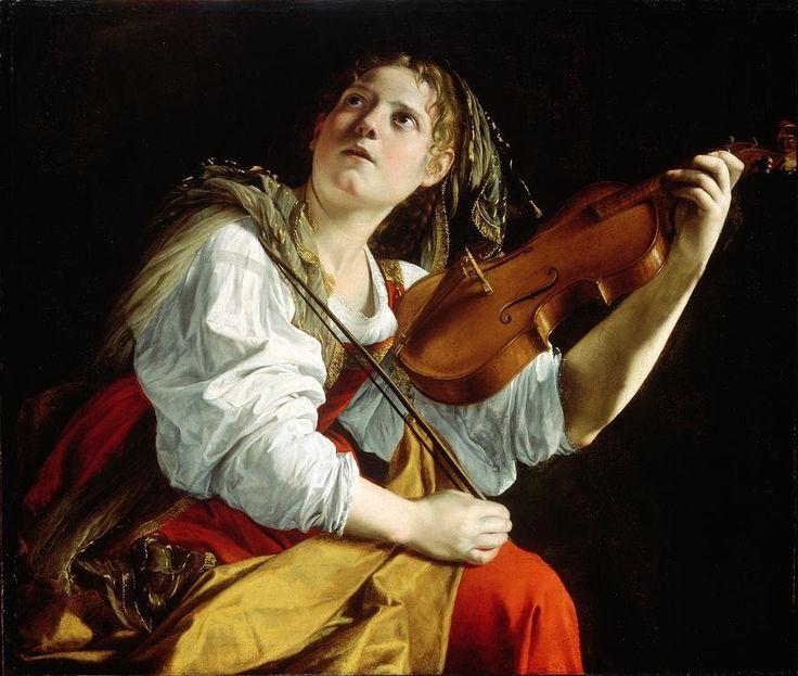 Orazio Gentileschi (Italian, 1563–1639) Young Woman with a Violin (Saint Cecilia), c. 1612. Oil on canvas, 83.5 x 97.8 cm. Detroit Institute of Arts, Detroit, Michigan. Photo ©2016, Detroit Institute of Arts.