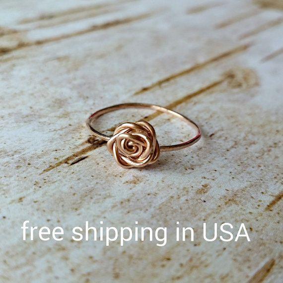 anillo color de rosa color de rosa de oro 14k de envío gratis