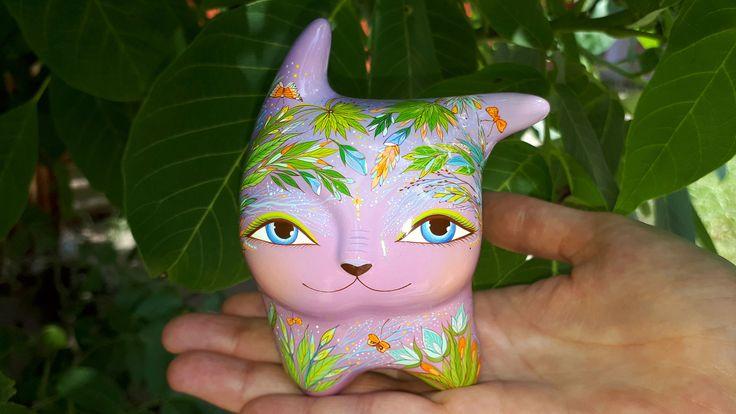 Cat in the wind - purple forest spirit. Ceramic Ocarina - wind musical instrument (whistle). Animals sculpture. Original art. by Jivizvuk on Etsy