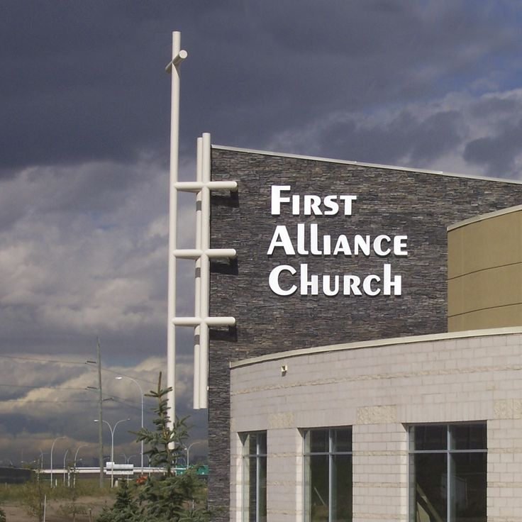 First Alliance Church in Calgary, Alberta. Reverse Channel non-illuminated aluminum letters.