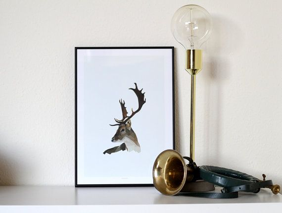 Stag poster A3 by NORDSTER on Etsy
