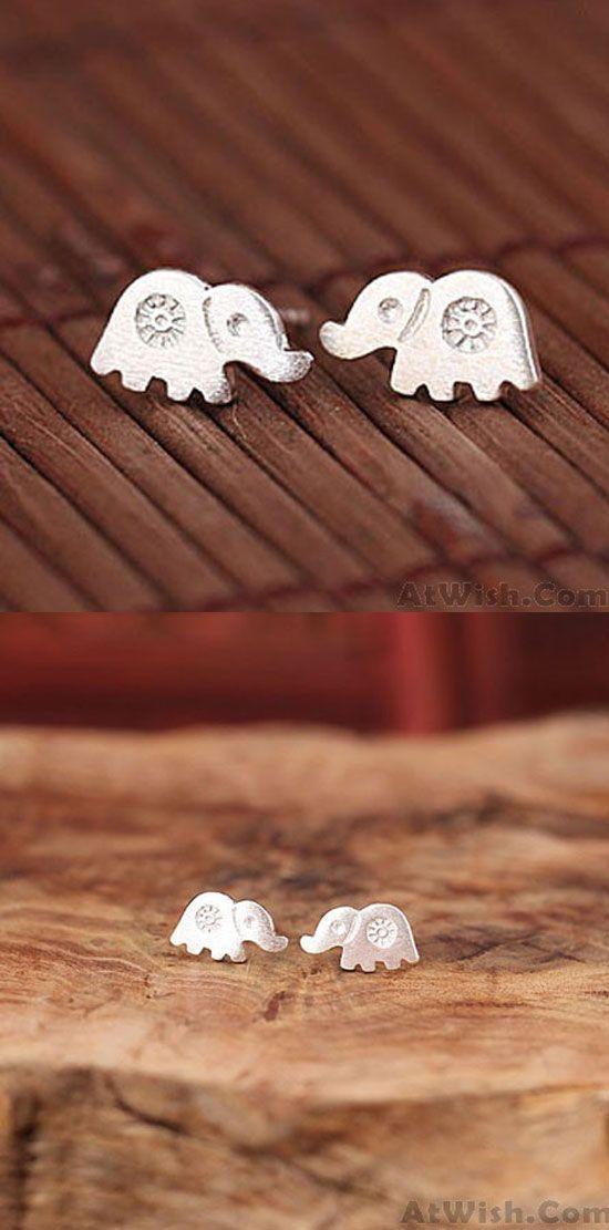 Lovely Elephant Anti-allergy Studs Silver Female Elephant Earring for big sale ! #elephant #lovely #silver #earring #studs