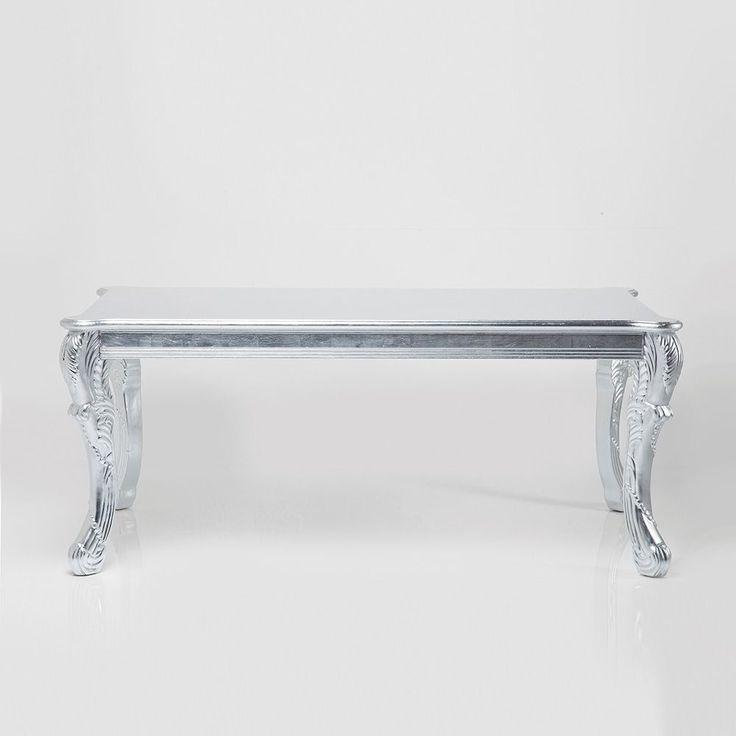 Tavolo Barocco Romantico argento 190X95X76H; tavolo barocco realizzato con foglie argento