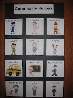 Community Helpers Writing Center word cards ( shown as a poster but would rather put them on a ring)