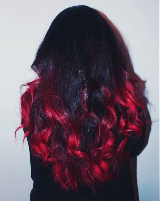 red ombre on dark hair using colour freedom crimson red ...