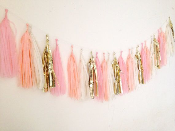 Peach pink gold mix garland wedding birthday baby by Bagsoffavours