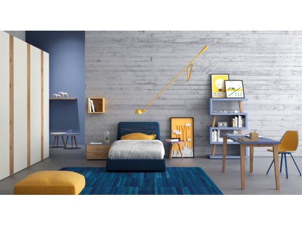 blue and white modern kids bedroom set with details in oak 74 wood