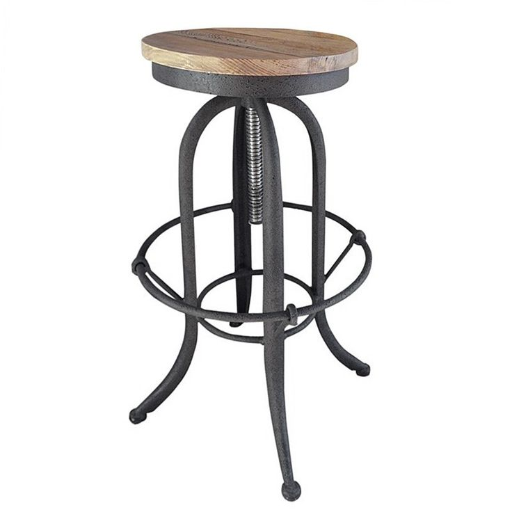 Andrew Timber Seat Iron Counter Stool, Charcoal