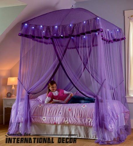 canopy bedroom design yellow orange brown purple canopy bed for girls room - Orange Canopy Decorating