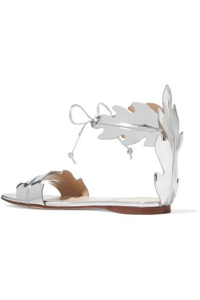 Francesco Russo - Mirrored-leather Sandals - Silver - IT38.5