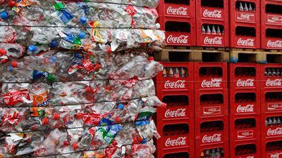 Crushed PET bottles for recycling