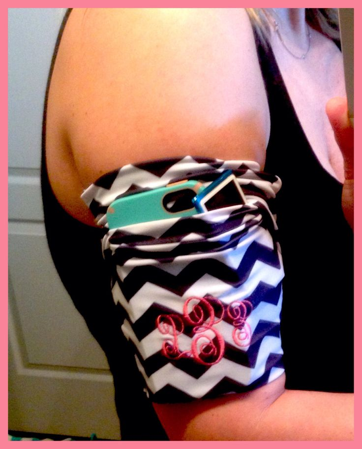 Jogging armband to hold your phone and music while exercising. Black and white chevron with custom initials by SayLaVeePersonality on Etsy