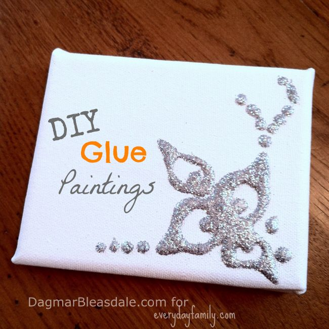 Glitter Glue And Paint Color Inspiration: DIY Glue Paintings: Just Add Glitter!