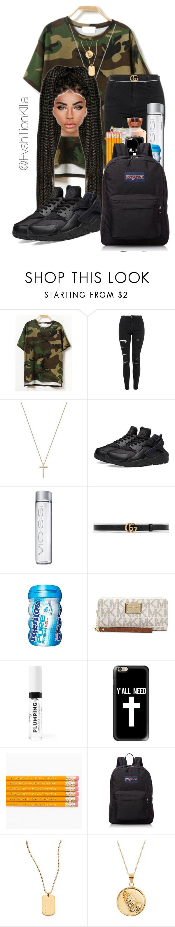 """""""Kanye West~Saint Pablo"""" by fvshtionkilla ❤ liked on Polyvore featuring Topshop, Gucci, NIKE, MICHAEL Michael Kors, Casetify, JanSport and Trina Turk"""