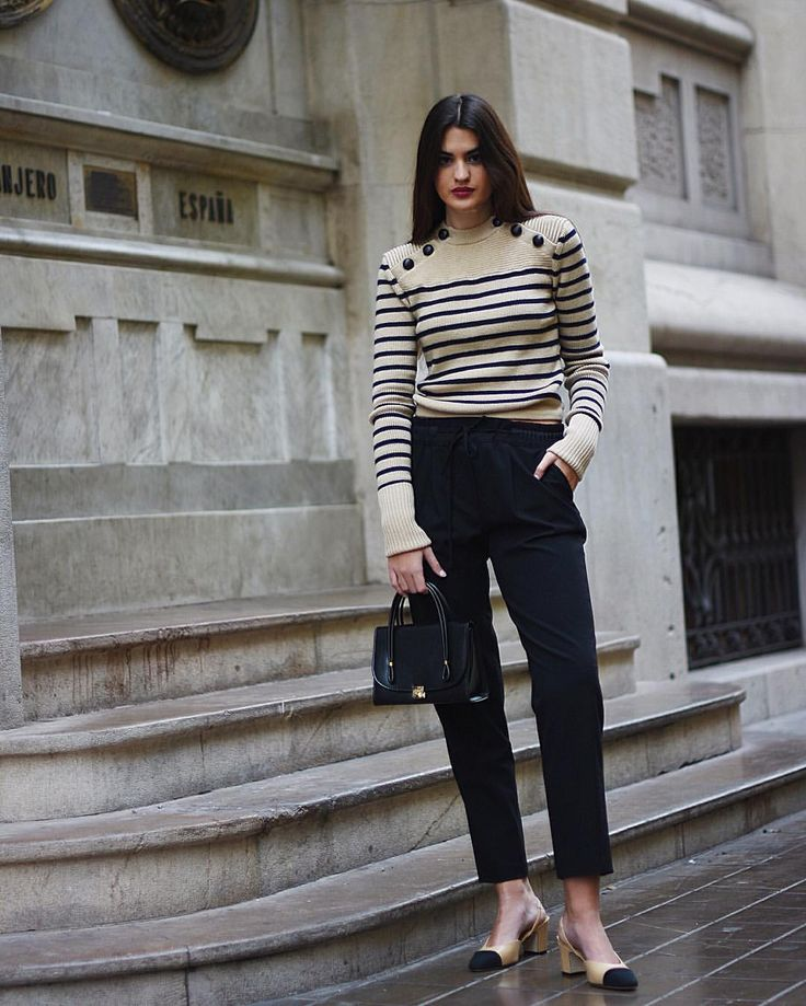 How to wear button up striped sweater with slingback via and minibag ⚡ ⚡️