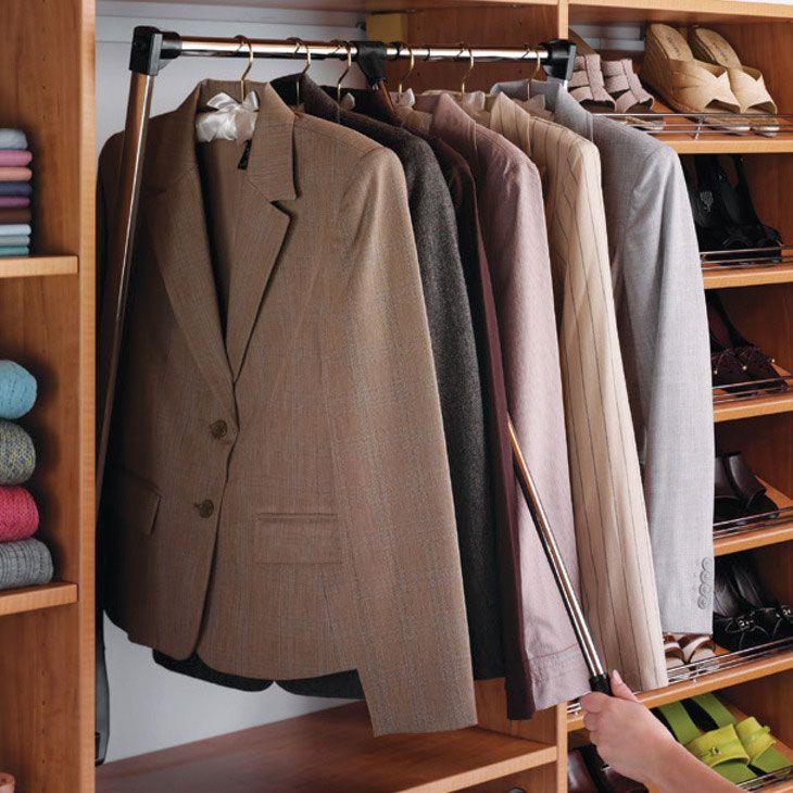 Heavy Duty Pull Down Closet Rod In Closet Rods And Brackets Closet Rod Closet Rods Wardrobe Rail