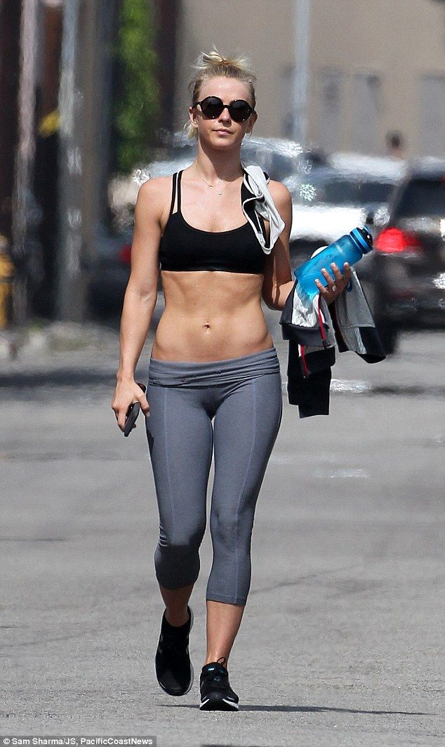 Amazing shape: Julianne Hough showed off her impressive abs as she left her gym in Los Ang...