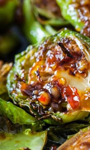 Roasted Brussels Sprouts with Sweet Chili Sauce #recipe   – Brussel Sprouts