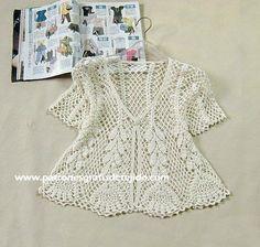 Patrones de blusa delicada calada crochet