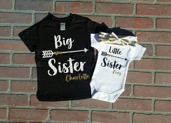 Personalized Glitter Big Sister Little Sister Shirt / Onesie