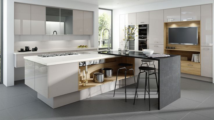 Gloss Kitchen in Cashmere. A simple and stylish gloss door in Cashmere and a range of other colour options. More gloss kitchens can be see at http://www.mackintoshkitchens.co.uk/kitchens?category%5B%5D=modern&finish%5B%5D=Gloss&style%5B%5D=Slab&style%5B%5D=Integrated+Handle