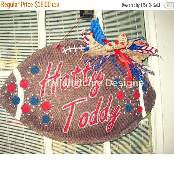 2015 Football Season Special 30% OFF Today Ole Miss Burlap Football Hotty Toddy Burlap Football Burlap Football Door Hanger Collegiate Burlap Football