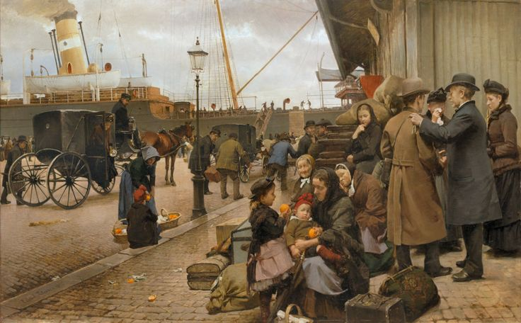 Edvard Petersen - Emigrants on Larsens Plads [1890] Edvard Petersen (Copenhagen, February 4, 1841 - Copenhagen, December 5, 1911) was a Danish painter. In the 1880s Petersen painted a number of figure paintings of street life in Copenhagen under influence of French Realism. His most famous paintings are Emigrants on Larsens Plads (1880) and A Return, the America Liner at Larsens Plads (1894).