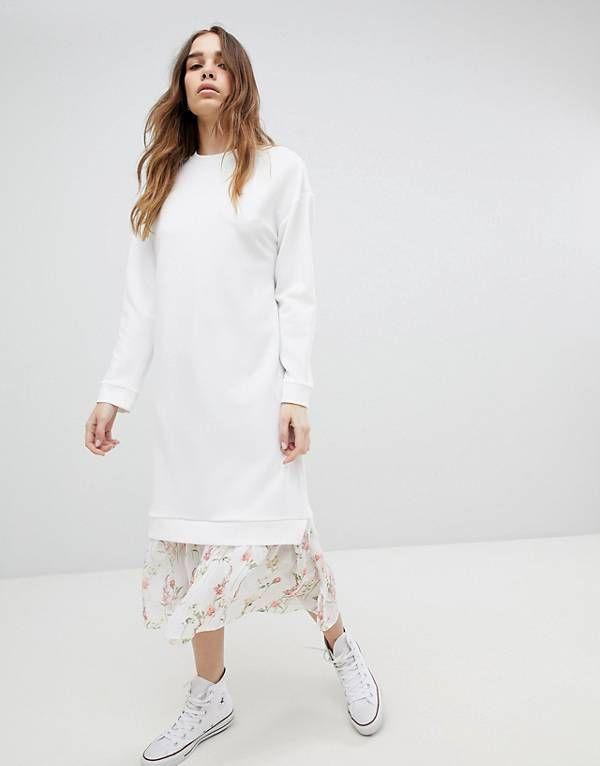 237ae0d04ce4 ASOS DESIGN midi dress with 2 in 1 floral mesh hem | My style 2018 ...