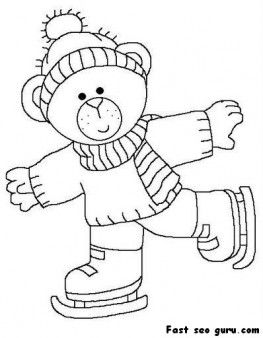 Printable cute bear on ice skates coloring page - Printable Coloring Pages For Kids