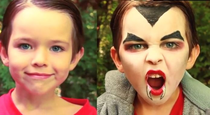 How to do easy Dracula or Vampire makeup easy to follow makeup tutorial for Halloween for kids, children.    Makeup you will need:  White face paint, black face paint, black eyeliner, red lipstick, black eye shadow, makeup sponge, makeup brushes.