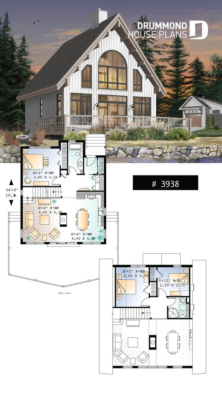 Wood Cabin A Frame Wood Cabin House Plan With Mezzanine And Open Floor Plan Layout In 2020 House Layout Plans Cabin House Plans Craftsman House Plans