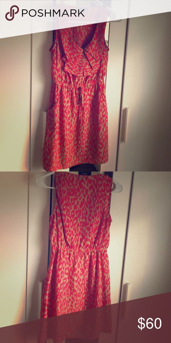 Coral & Taupe Cheetah Print Dress Coral & Taupe Cheetah Print Dress. Size Small. Has pockets!! Smoke free home BeBop Dresses Mini