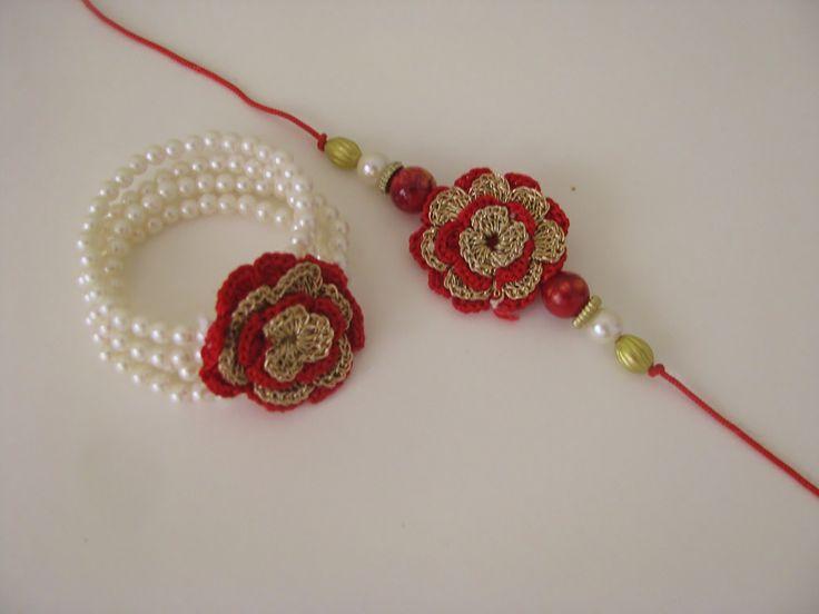 Crochet Flower Pair Rakhi