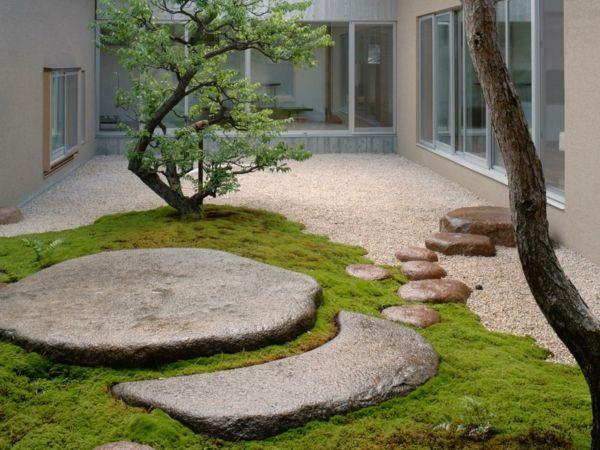 feng shui garten gestalten kies steinplatten innenhof