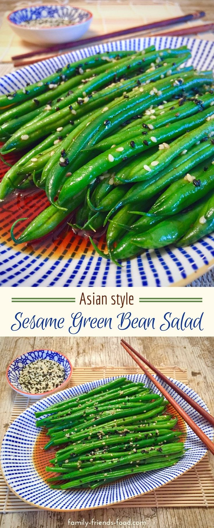 Crunchy sesame seeds cling to crisp-tender green beans, in a sweet, spicy Asian-inspired dressing. A simple and delicious salad, packed with vitamins and minerals.  #parve #salad #sidedish #easyrecipe
