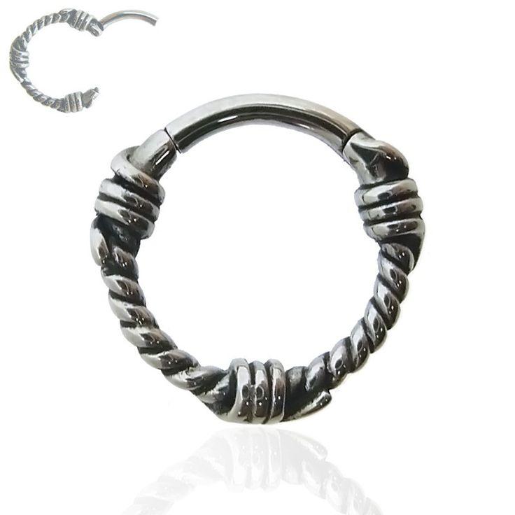 Anneau de piercing en acier chirurgical à ouverture facile. Motif tressé pour un style vintage.