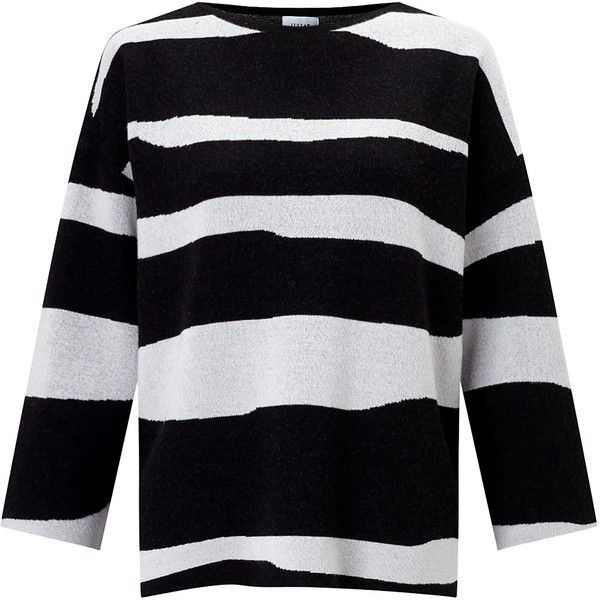 Jigsaw Letter Stripe Jumper (300 BAM) ❤ liked on Polyvore featuring tops, sweaters, black, women, drop shoulder sweater, striped jumper, three quarter sleeve tops, slouch sweater and jacquard sweater
