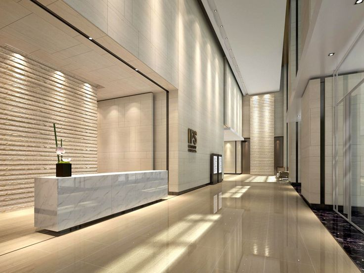 commercial office lobby interior design view 02 with stone