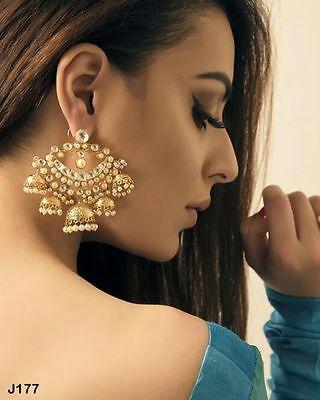 Kundan Chandbali Earrings Jhumka Chandelier Indian Wedding Jewelry Accessory V19