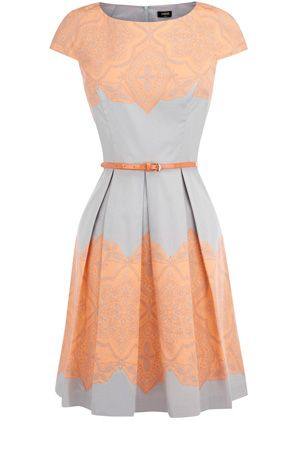 peach and light blue dress
