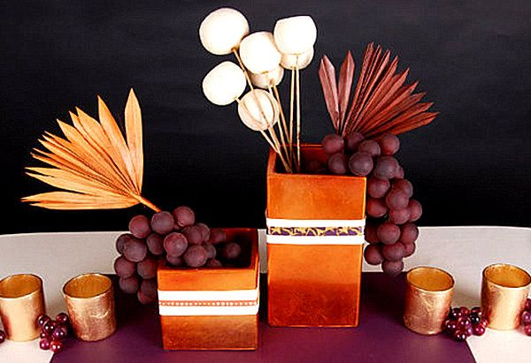 Decoration, Beautiful Modern Thanksgiving Decor With Fruit And Leaves Also Gold Box: Impressive Unique Thanksgiving Centerpiece Appears Breathtaking Look