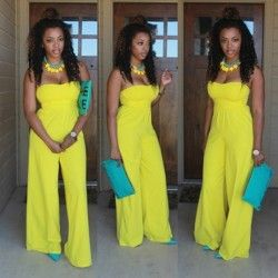 Yellow Plain Bandeau High Waisted Wide Leg Casual Loose Long Jumpsuit For Women